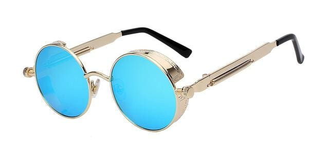 Round Metal Sunglasses Steampunk Men Women Fashion Glasses Brand Designer Retro Vintage Sunglasses Gold w blue mir