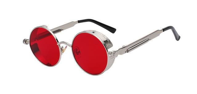 Round Metal Sunglasses Steampunk Men Women Fashion Glasses Brand Designer Retro Vintage Sunglasses Silver W Sea Red
