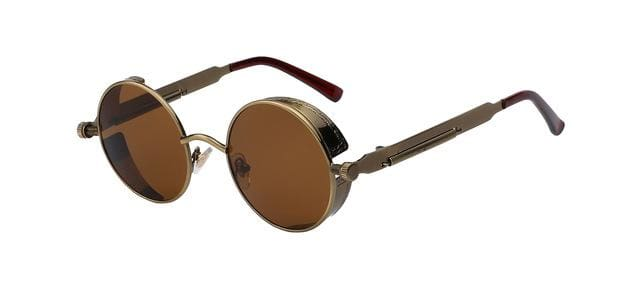 Round Metal Sunglasses Steampunk Men Women Fashion Glasses Brand Designer Retro Vintage Sunglasses Brass w brown lens