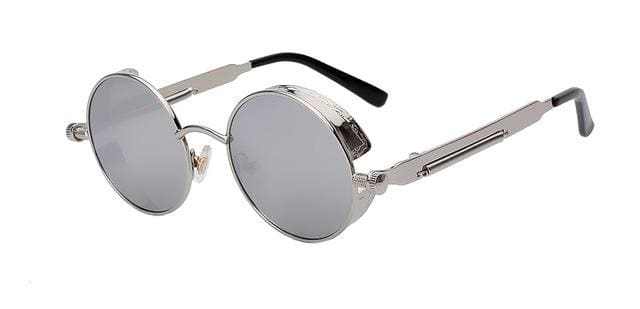 Round Metal Sunglasses Steampunk Men Women Fashion Glasses Brand Designer Retro Vintage Sunglasses Silver W Silver Mir