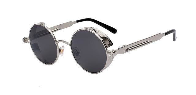 Round Metal Sunglasses Steampunk Men Women Fashion Glasses Brand Designer Retro Vintage Sunglasses Silver W Black