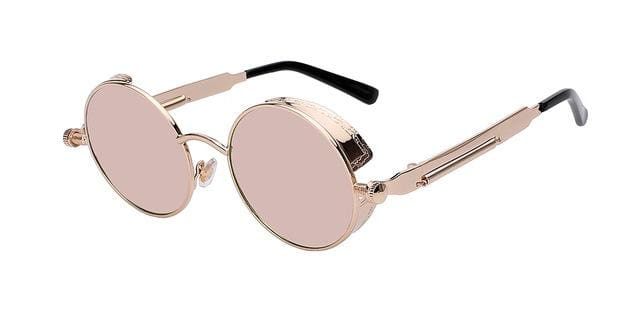 Round Metal Sunglasses Steampunk Men Women Fashion Glasses Brand Designer Retro Vintage Sunglasses Gold w pink mir