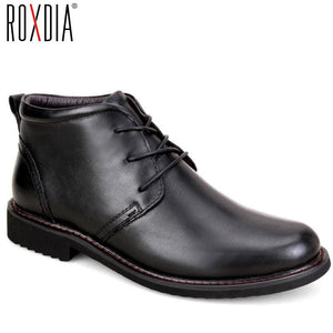 ROXDIA genuine leather men boots snow winter causal  warm work shoes male mens waterproof ankle boot - MBMCITY