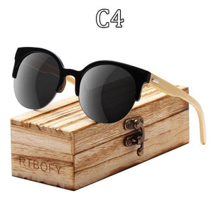 RTBOFY Wood Sunglasses for Women & Men Bamboo Frame Glasses Handmade Wooden Eyeglasses Unisex C1