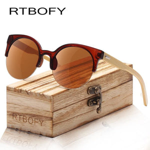 RTBOFY Wood Sunglasses for Women & Men Bamboo Frame Glasses Handmade Wooden Eyeglasses Unisex