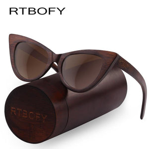 Rtbofy Wood Sunglasses Women Bamboo Frame Eyeglasses Polarized Lenses Glasses Vintage Design Shades
