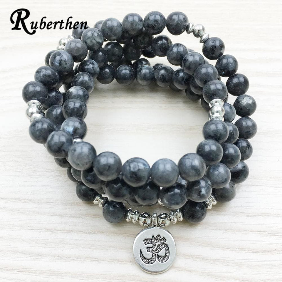 Ruberthen 2017 Top Design Labradorite Wrap Bracelet Trendy Handmade Men`s 108 Mala Yoga Bracelet Or