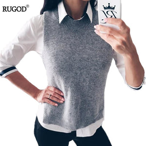 Rugod 2018 Autumn Winter Jacket Women Vest Warm Wool Vests Plus Size Gray Sleeveless O Neck Knitted - MBMCITY