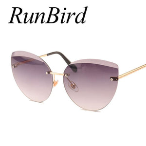 RunBird 2017 New Cat Eye Sunglasses Fashion Women Luxury Brand Designer Rimless Cateye Mirror Sun - MBMCITY