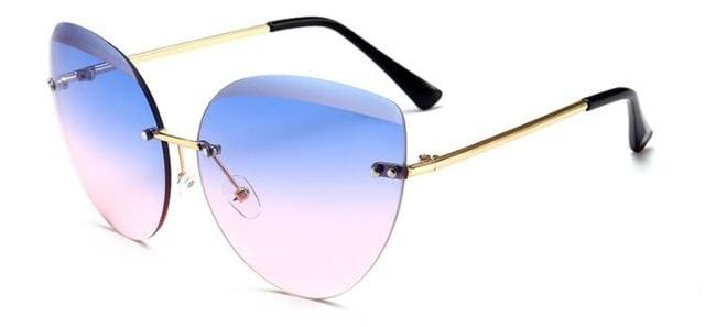 Runbird 2017 New Cat Eye Sunglasses Fashion Women Luxury Brand Designer Rimless Cateye Mirror Sun Blue Pink