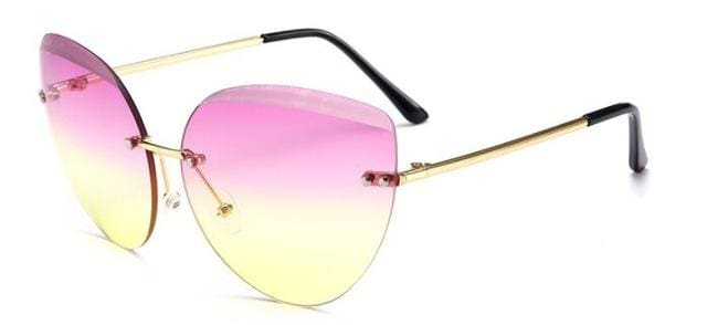 Runbird 2017 New Cat Eye Sunglasses Fashion Women Luxury Brand Designer Rimless Cateye Mirror Sun Pink Yellow