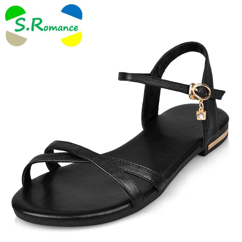 S.Romance Genuine Leather Women Flats Sandals Plus Size 34-43 New Fashion Casual Solid Buckle Strap