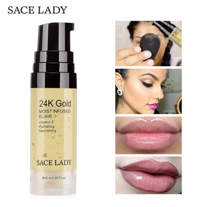 SACE LADY 24K Gold Elixir Oil for Face Makeup Primer 6ml Professional Moisturizing Make Up Base