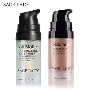 Sace Lady Face Makeup Set Highlighter Cream Matte Foundation Primer Illuminator Liquid Glow Make Up