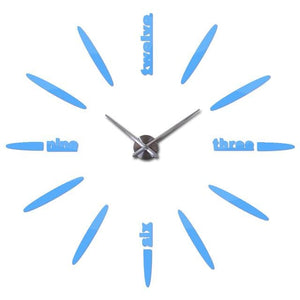 Sale New Wall Clock Clocks Watch Stickers Diy 3d Acrylic Mirror Home Decoration Quartz Sky Blue / 47inch