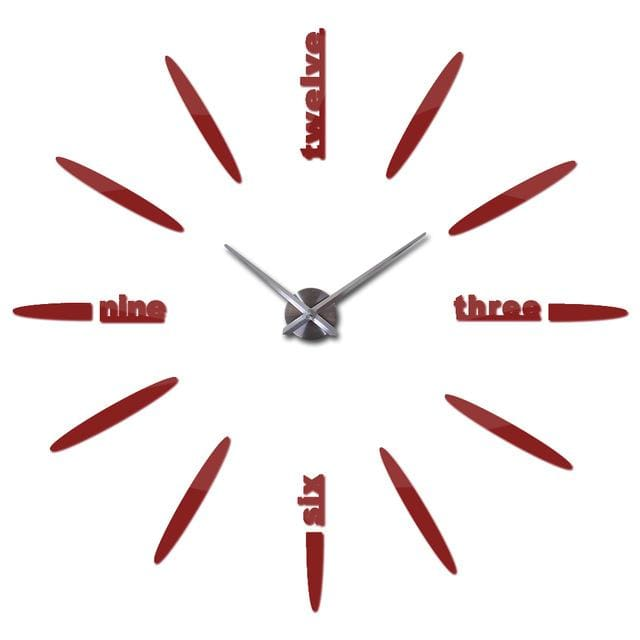 Sale New Wall Clock Clocks Watch Stickers Diy 3d Acrylic Mirror Home Decoration Quartz Red / 47inch