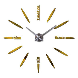 Sale New Wall Clock Clocks Watch Stickers Diy 3d Acrylic Mirror Home Decoration Quartz Gold / 47inch