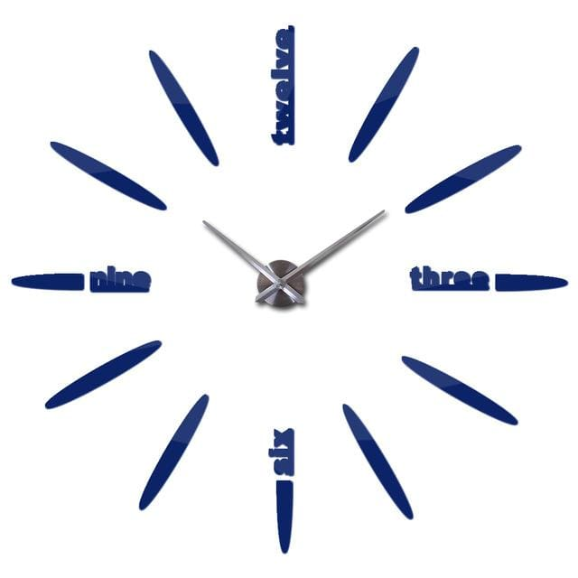 Sale New Wall Clock Clocks Watch Stickers Diy 3d Acrylic Mirror Home Decoration Quartz Deep Blue / 47inch