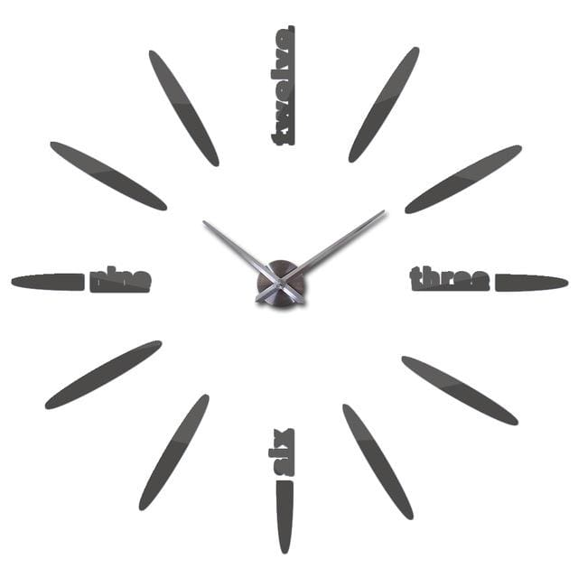 Sale New Wall Clock Clocks Watch Stickers Diy 3d Acrylic Mirror Home Decoration Quartz Dark Gray / 47inch