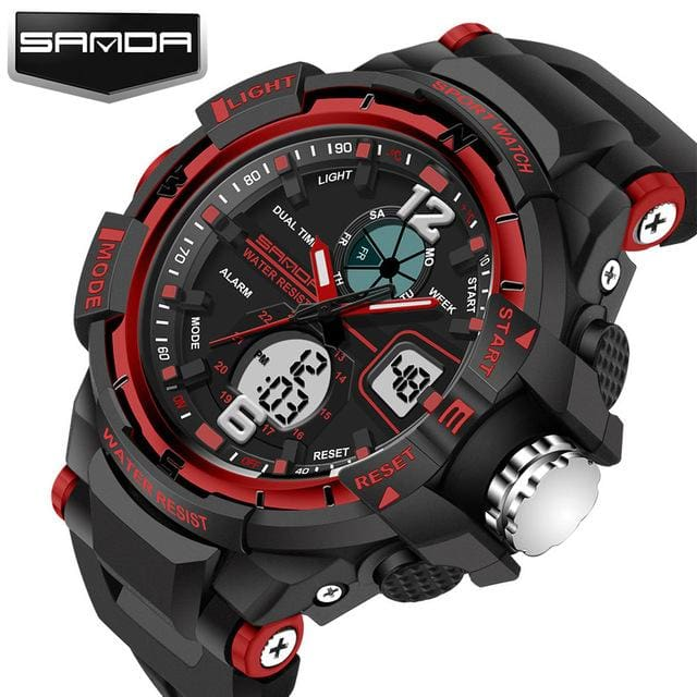 Sanda Sport Watch Men 2018 Clock Male Led Digital Quartz Wrist Watches Mens Top Brand Luxury Red