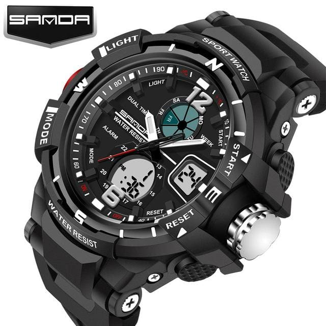 Sanda Sport Watch Men 2018 Clock Male Led Digital Quartz Wrist Watches Mens Top Brand Luxury Black