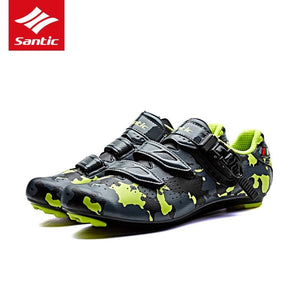 Santic Men Pro Road Cycling Shoes PU Breathable Road Bike Shoes Auto-locking Athletic Racing Bicycle