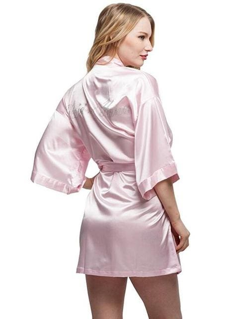 Satin Faux Silk Wedding Bride Bridesmaid Robes White Bridal Dressing Gown/ Kimono As The Photo Show 18 / S