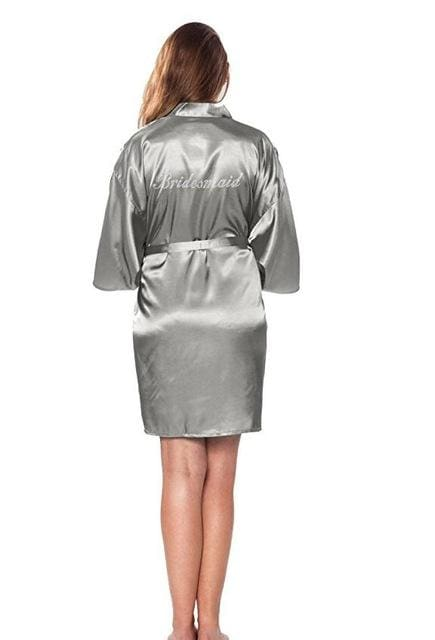 Satin Faux Silk Wedding Bride Bridesmaid Robes,White Bridal Dressing Gown/ Kimono - MBMCITY