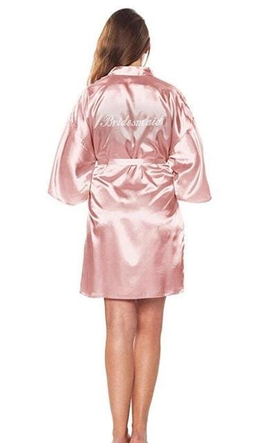 Satin Faux Silk Wedding Bride Bridesmaid Robes White Bridal Dressing Gown/ Kimono As The Photo Show 19 / S