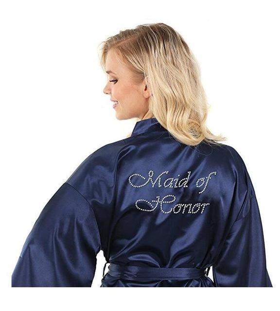 Satin Faux Silk Wedding Bride Bridesmaid Robes White Bridal Dressing Gown/ Kimono As The Photo Show 14 / S