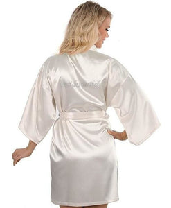 Satin Faux Silk Wedding Bride Bridesmaid Robes White Bridal Dressing Gown/ Kimono As The Photo Show 13 / S