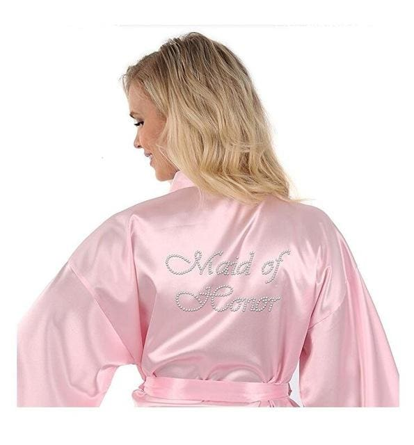 Satin Faux Silk Wedding Bride Bridesmaid Robes White Bridal Dressing Gown/ Kimono As The Photo Show 11 / S