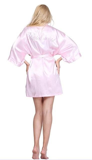 Satin Faux Silk Wedding Bride Bridesmaid Robes White Bridal Dressing Gown/ Kimono