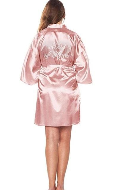 Satin Faux Silk Wedding Bride Bridesmaid Robes White Bridal Dressing Gown/ Kimono As The Photo Show 16 / S