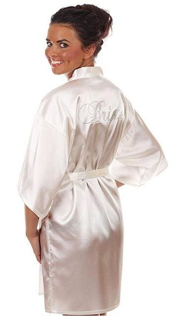 Satin Faux Silk Wedding Bride Bridesmaid Robes White Bridal Dressing Gown/ Kimono As The Photo Show 12 / S