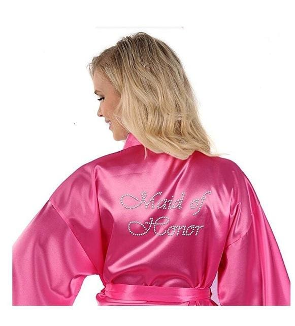 Satin Faux Silk Wedding Bride Bridesmaid Robes White Bridal Dressing Gown/ Kimono As The Photo Show 1 / S
