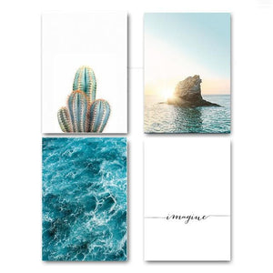 Sea Sunset Motivational Poster Quote Print Nodic Style Wall Art Canvas Painting Cactus Picture Room 13X18Cm No Frame / 4 Pcs Set