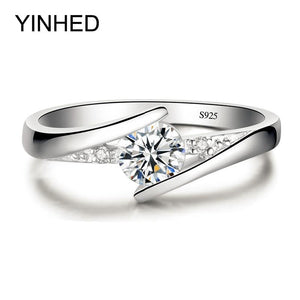 Sent Certificate Of Silver! Yinhed 100% Pure 925 Sterling Silver Ring Set Luxury 0.5 Ct Cz Diamant