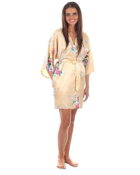 Sexy White Printed Female Mini Silk Robe Rayon Kimono Yukata Night Dress Gown Flower &peacock S M L Gold / S