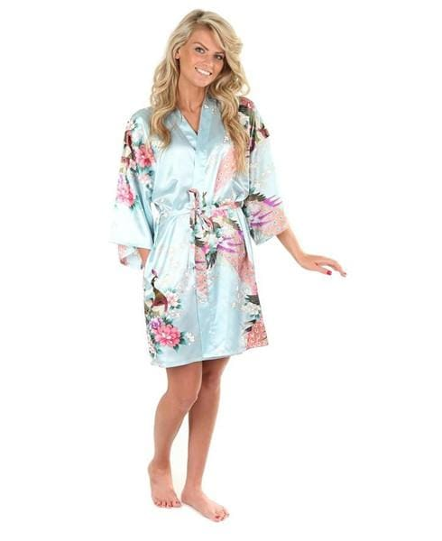 Sexy White Printed Female Mini Silk Robe Rayon Kimono Yukata Night Dress Gown Flower &peacock S M L Light Blue / S