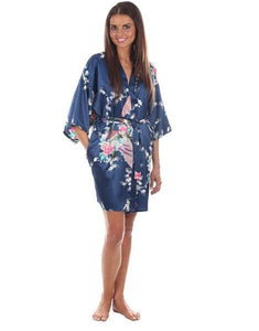 Sexy White Printed Female Mini Silk Robe Rayon Kimono Yukata Night Dress Gown Flower &peacock S M L Navy Blue / S