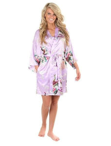 Sexy White Printed Female Mini Silk Robe Rayon Kimono Yukata Night Dress Gown Flower &peacock S M L Light Purple / S
