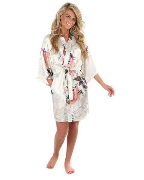 Sexy White Printed Female Mini Silk Robe Rayon Kimono Yukata Night Dress Gown Flower &peacock S M L White / S