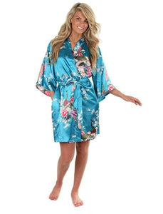 Sexy White Printed Female Mini Silk Robe Rayon Kimono Yukata Night Dress Gown Flower &peacock S M L Sky Blue / S
