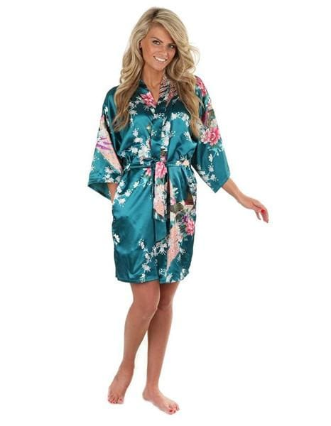Sexy White Printed Female Mini Silk Robe Rayon Kimono Yukata Night Dress Gown Flower &peacock S M L Green / S