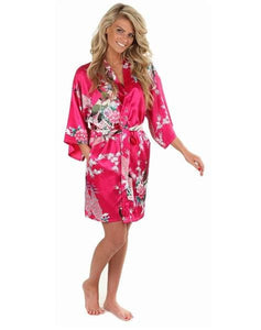 Sexy White Printed Female Mini Silk Robe Rayon Kimono Yukata Night Dress Gown Flower &peacock S M L Hot Pink / S