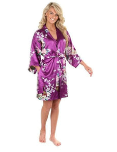 Sexy White Printed Female Mini Silk Robe Rayon Kimono Yukata Night Dress Gown Flower &peacock S M L Purple / S