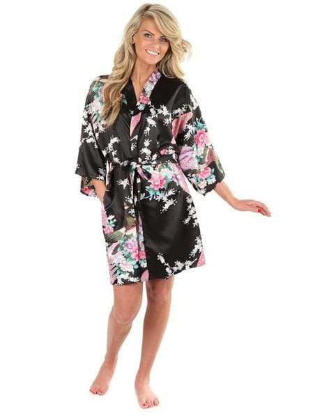 Sexy White Printed Female Mini Silk Robe Rayon Kimono Yukata Night Dress Gown Flower &peacock S M L Black / S
