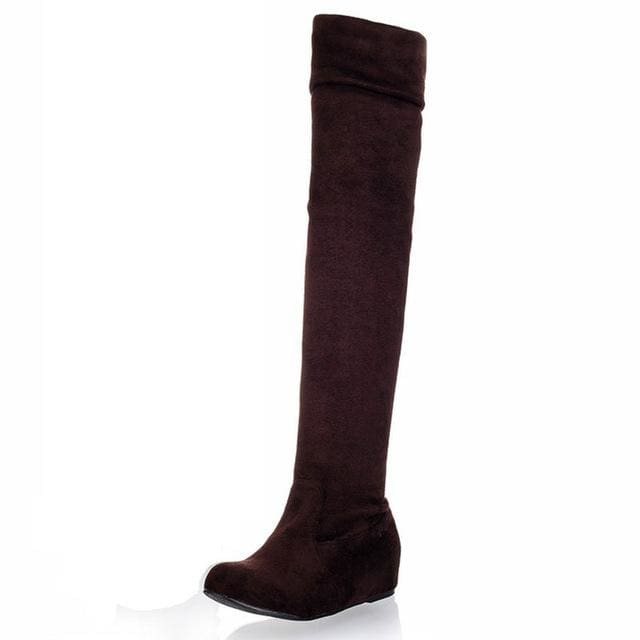 SGESVIER Women Boots Winter Autumn Fashion Flat Bottom Boots Shoes Over The Knee High Leg Suede Long Brown / 4