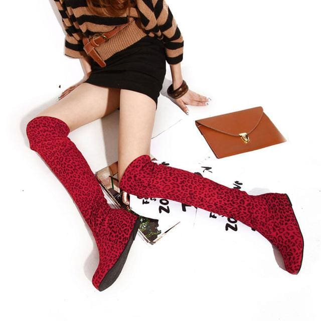 SGESVIER Women Boots Winter Autumn Fashion Flat Bottom Boots Shoes Over The Knee High Leg Suede Long Red Leopard / 4